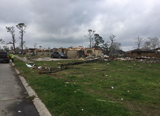 Home destroyed by the New Orleans East tornado.  However, zero deaths were attributed to the Louisiana tornado outbreak on February 27, 2017
