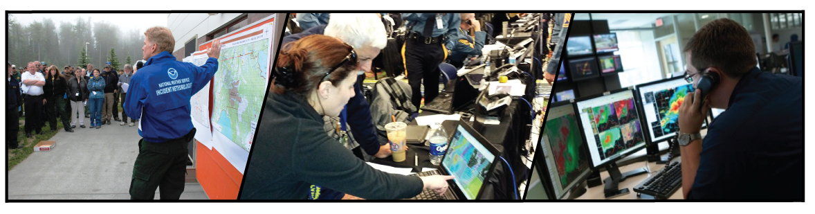 NWS forecasters provide decision support to emergency management personnel at the event (left), at the command center (middle), and remotely (right)