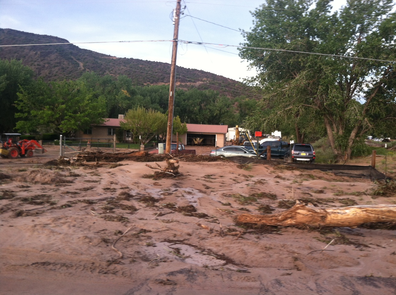 Mud and debris were carried close to homes near Medanales when the Rio Chama flooded on September 18, 2013.