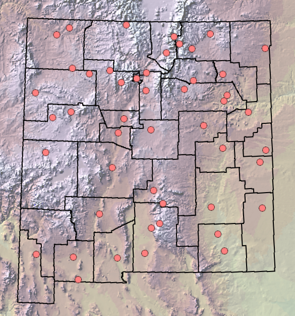 Map of New Mexico With Locations Freeze Dates