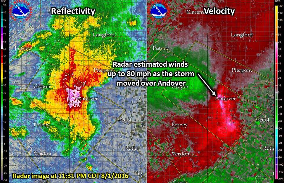 Radar Image as the storm moved over Andover around 11:31 PM