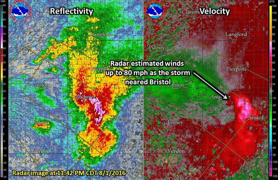 Radar Image as the storm neared Bristol around 11:42 PM