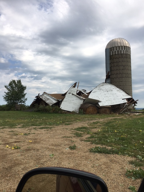 A barn was destroyed near Hillshead (Photo from Marshall County EM)