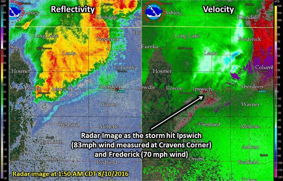 Radar image of the storm as it moved through Ipswich (83 mph wind measured) and Frederick (70 mph).