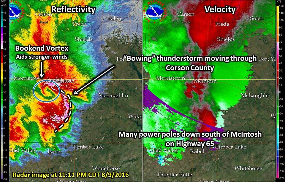 Bowing storm near McIntosh, with a bookend vortex on the north side of the storm.