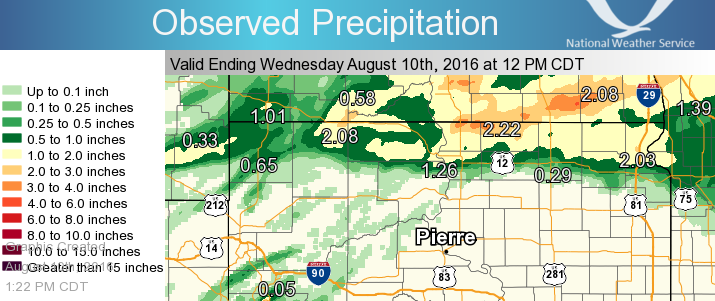 24 Hour Rainfall Amounts ending at Noon on August 10, 2016