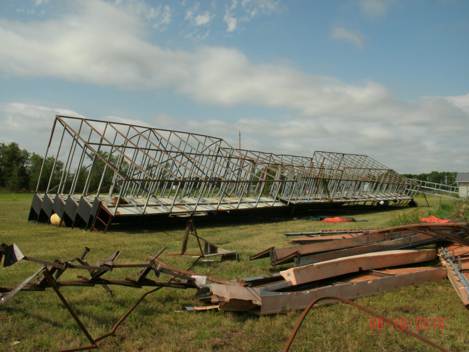 Bleachers flipped at Trail Days site (Photo from Edmunds County EM)