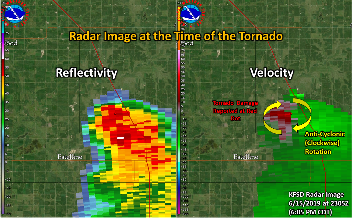 KFSD (Sioux Falls, SD) Radar image from 2305Z (6:05 PM CDT) on 6/15/19 at the time/location of the tornado damage. This location matches the location of the Facebook video that was looking northwest from I-29.