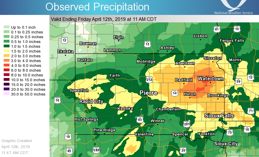 Liquid Equivalent precipitation observed for the 72 hours prior to 11 AM CDT on April 12, 2019