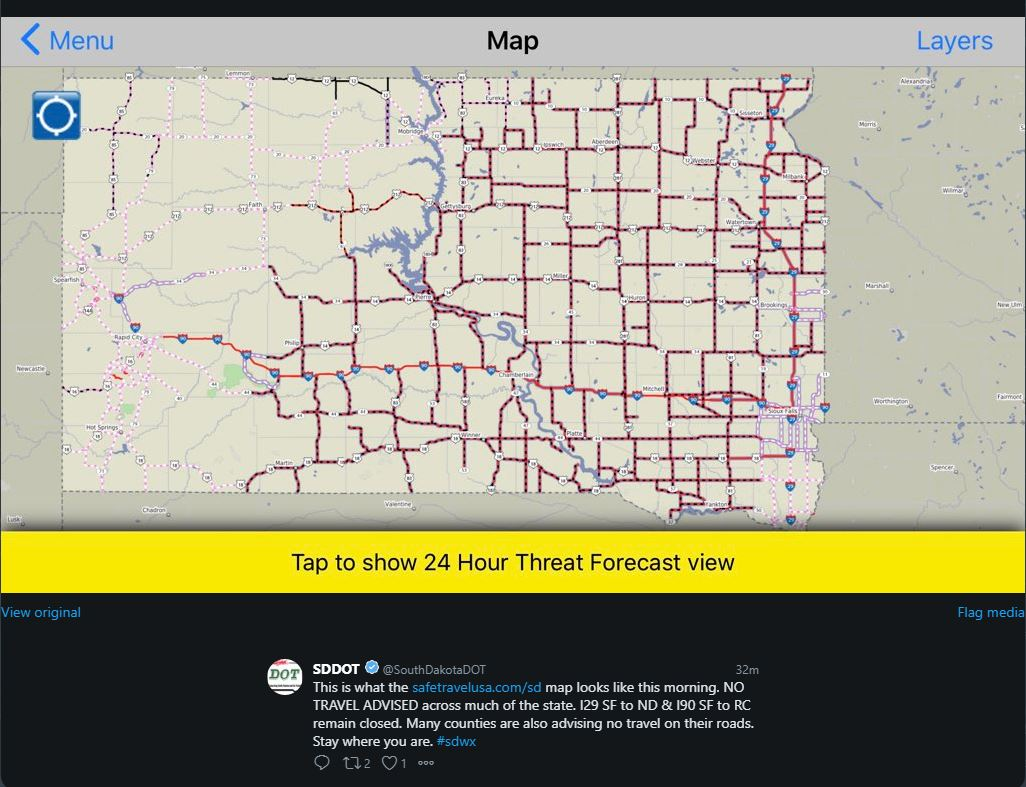 No Travel Advised covered most of the eastern 2/3rds of South Dakota at 7 AM CDT on April 11, 2019 (Source: SDDOT Twitter)
