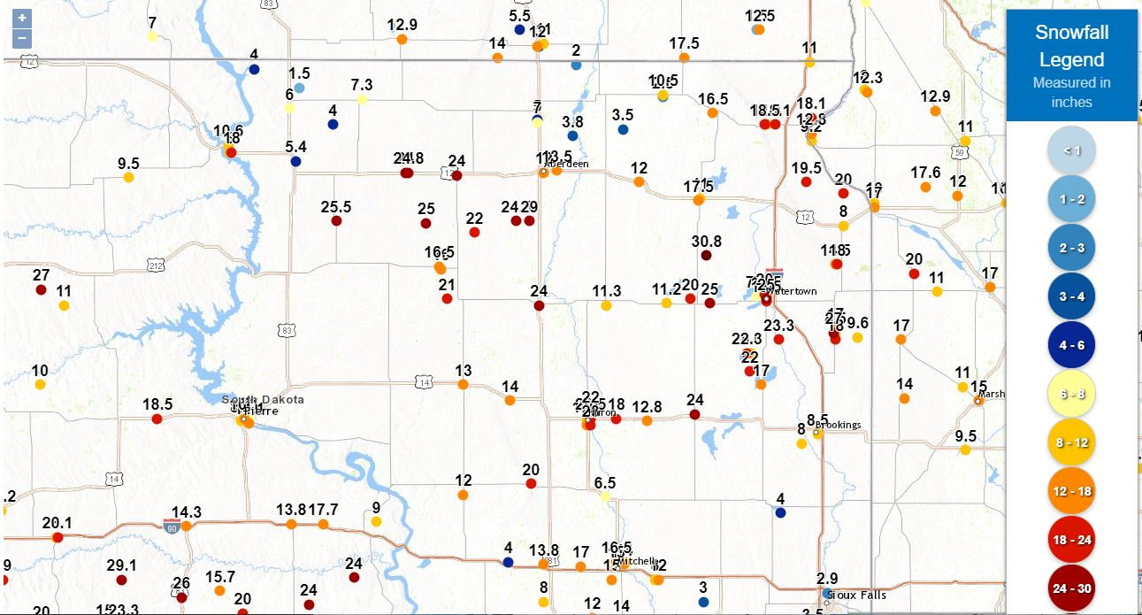Snowfall reports across central/eastern South Dakota and west central Minnesota
