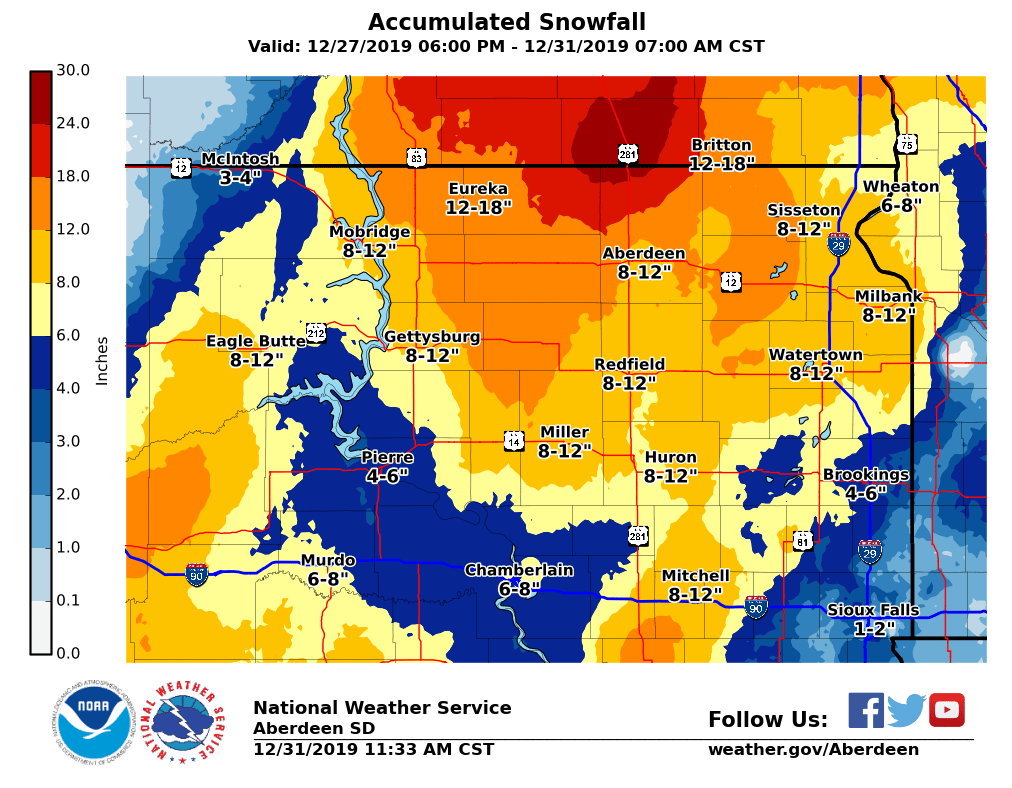 Storm Total Snowfall Amounts from late on December 27th through the morning of December 31st, 2019. Amounts based off observations and local storm reports through 10 AM 12/31/2019.