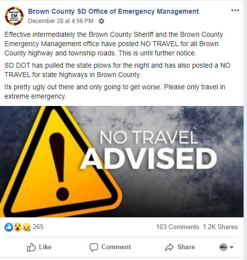 Brown County, SD - No Travel Advised starting at 4:56 PM on Dec 28, 2019 (Brown County SD EM)