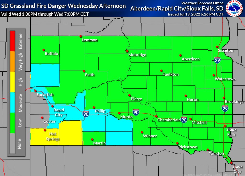 South Dakota Grassland Fire Danger Map
