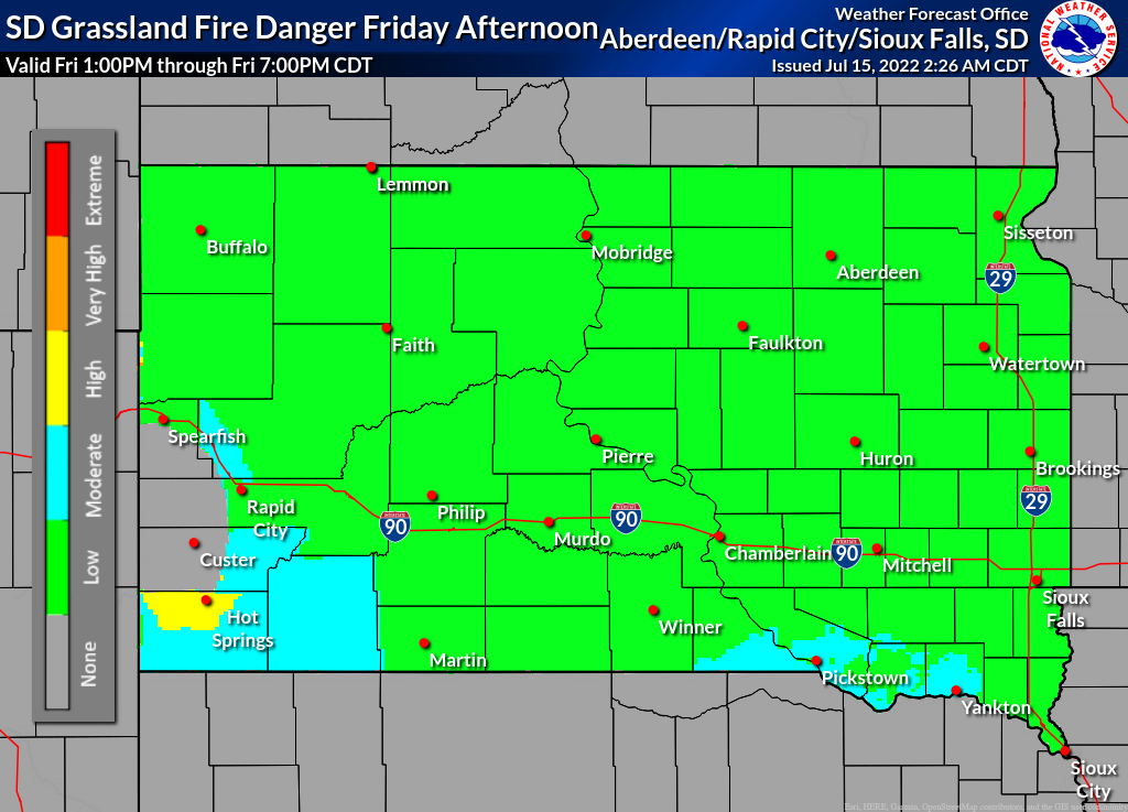 Day 1 SD Grassland Fire Danger (click to print)