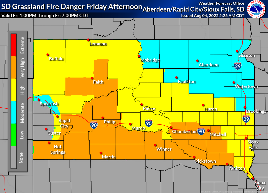 Day 2 SD Grassland Fire Danger (click to print)