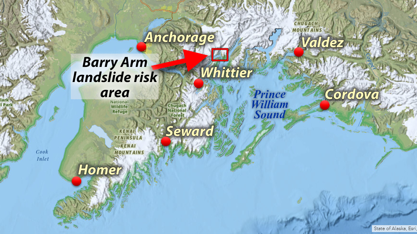 Map showing location of Barry Arm and Prince William Sound in Southcentral Alaska