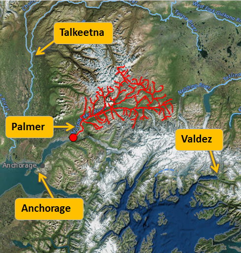 Outline of entire Matanuska River Drainage Basin