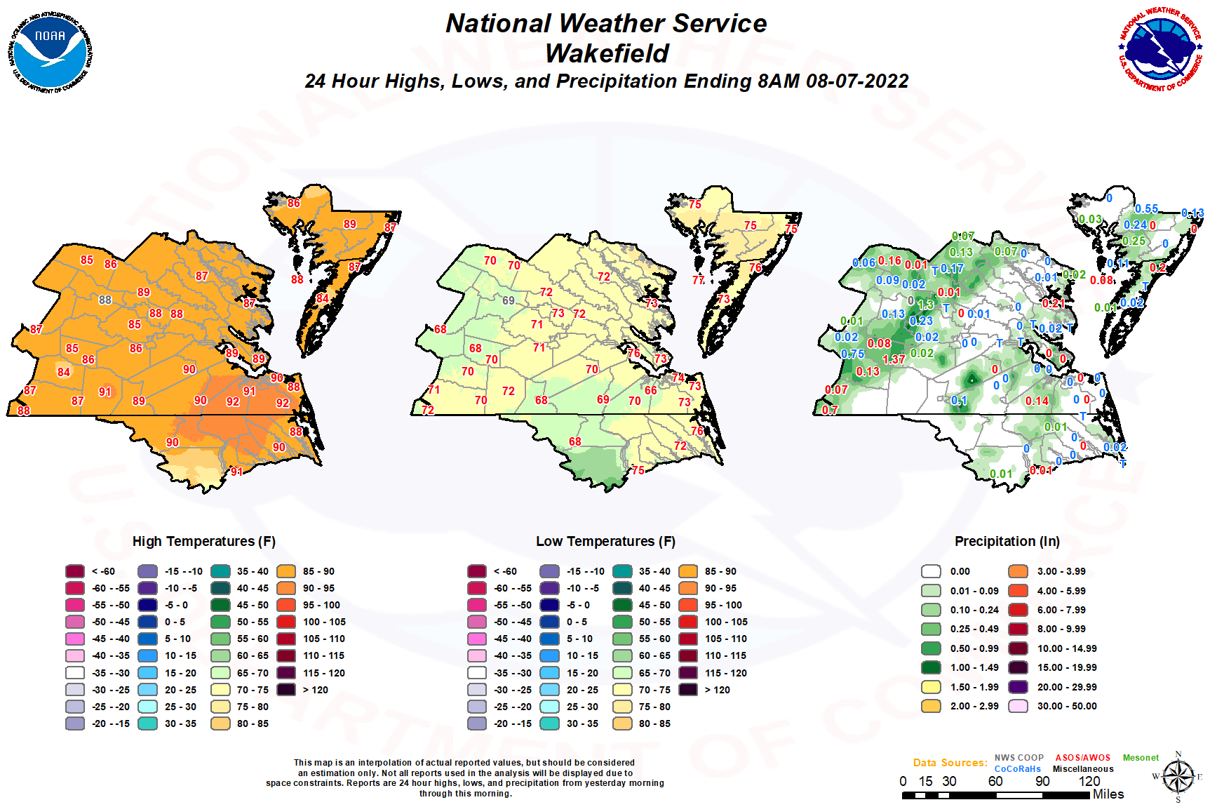 North Carolina Daily Highs, Lows, and Precipitation