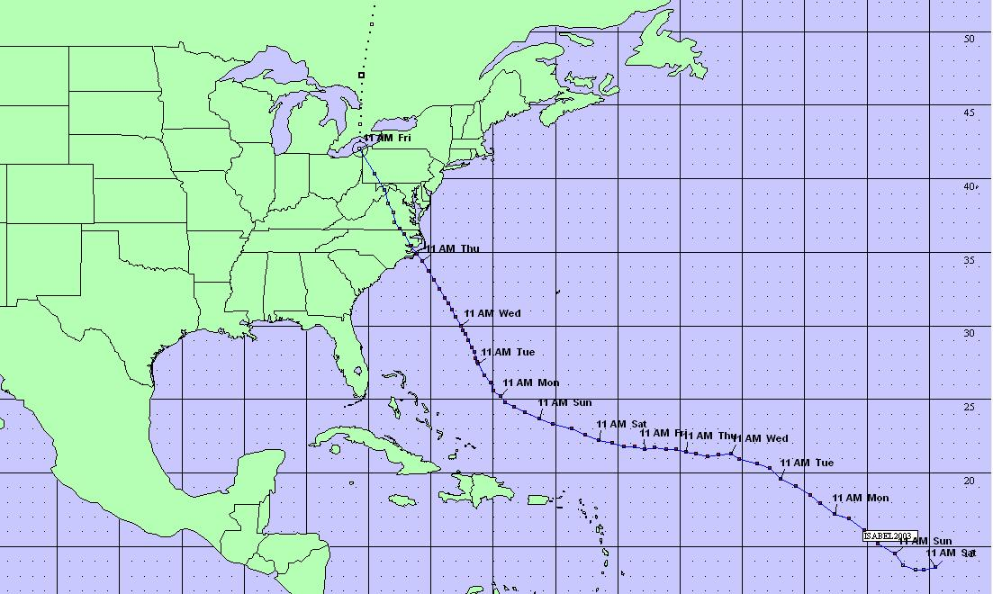 Hurricane Isabel's Track