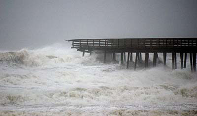 Virginia Beach Pier during Isabel