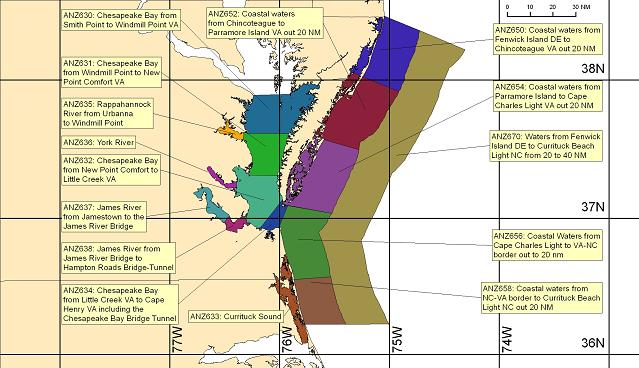 Marine Weather Map.Marine Forecast Information Nws Wakefield Va