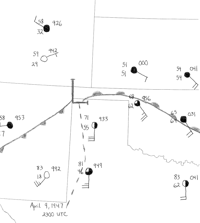 Figure 7.  9 April 1947 2300 UTC (5 p.m. CST) surface analysis.