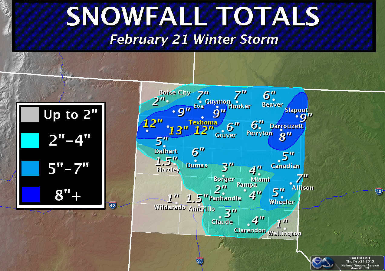 February 21 Snow Totals