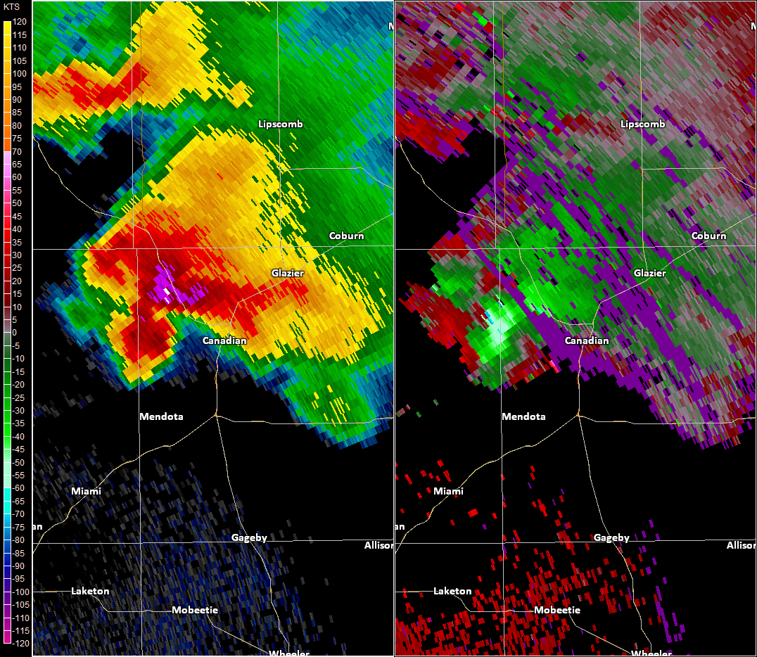 Radar imagery near Canadian, TX