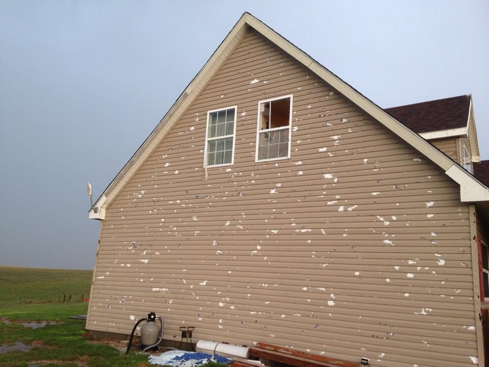 Hail damage in Darrouzett, TX