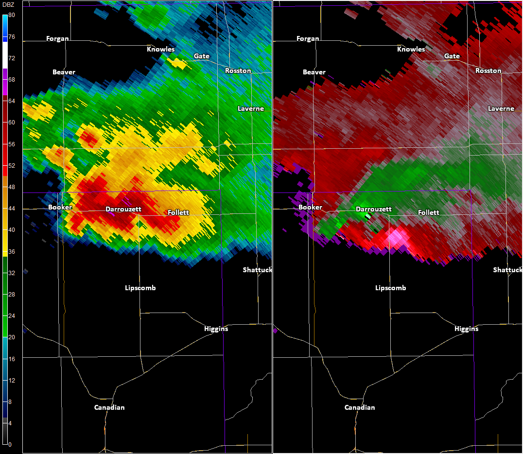 Radar imagery over Darrouzette, TX
