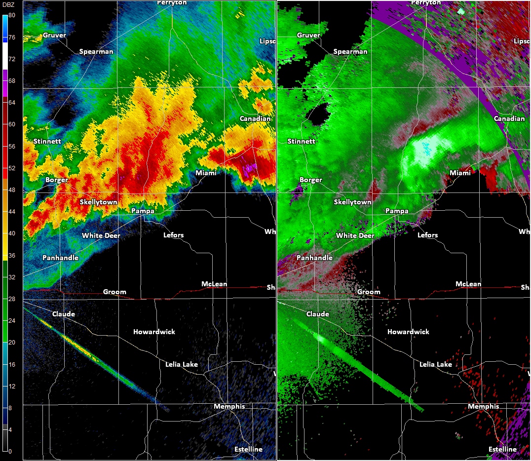Radar imagery over Pampa, TX