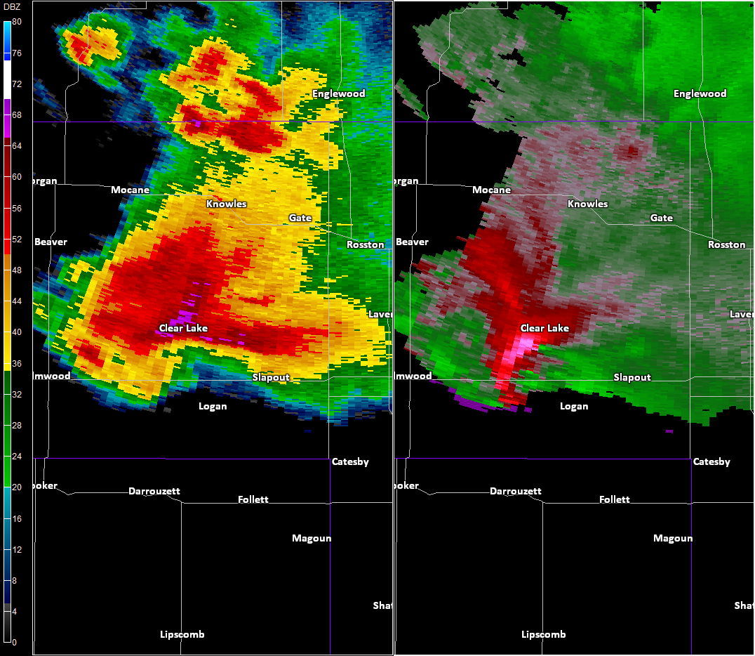 Radar imagery near Slapout, OK