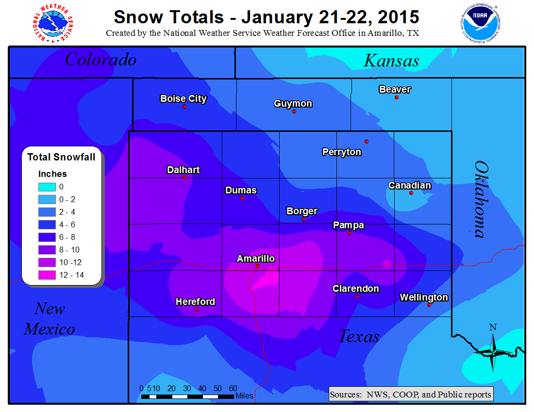 Event snowfall totals