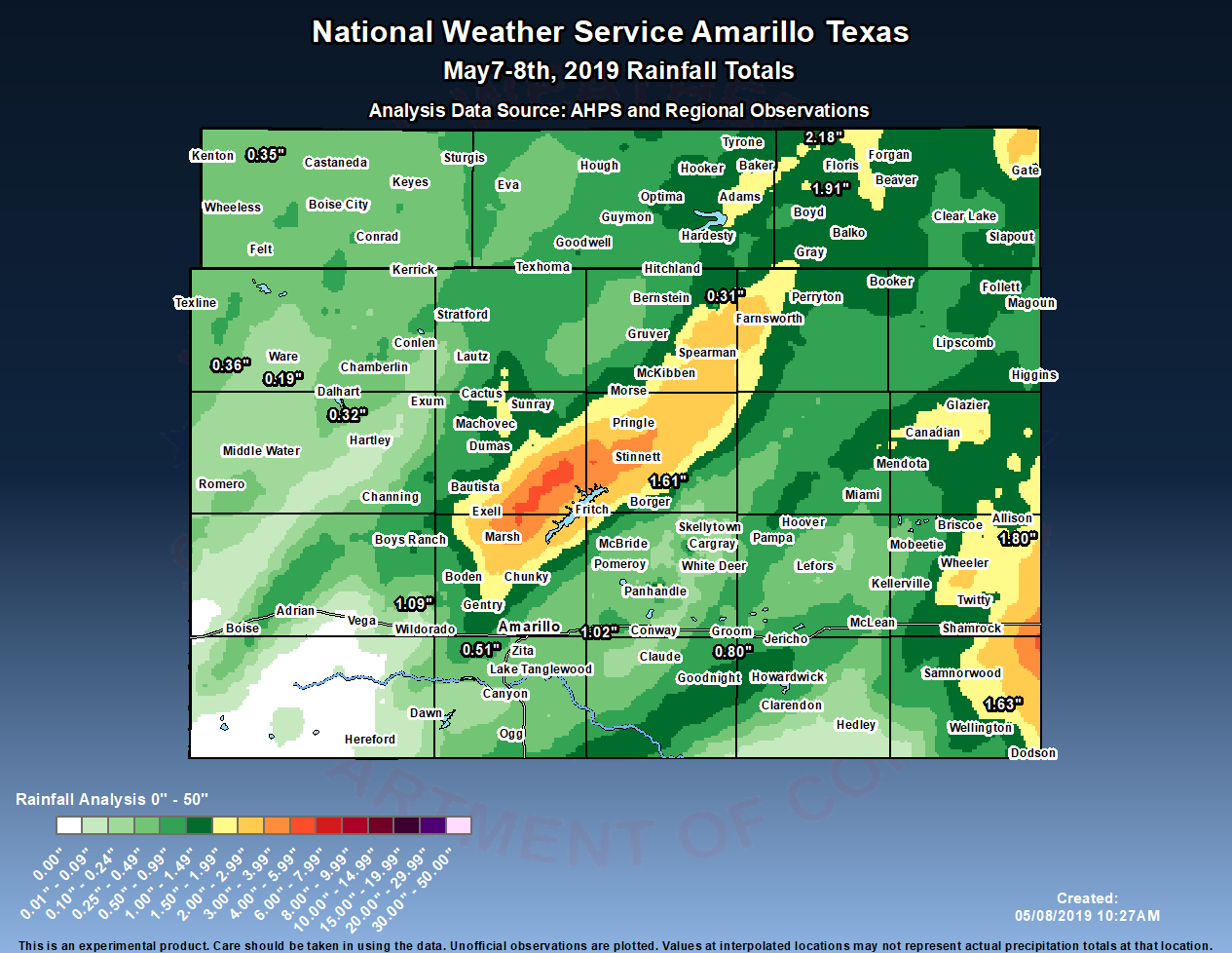 Rainfall reports and estimates from May 7th