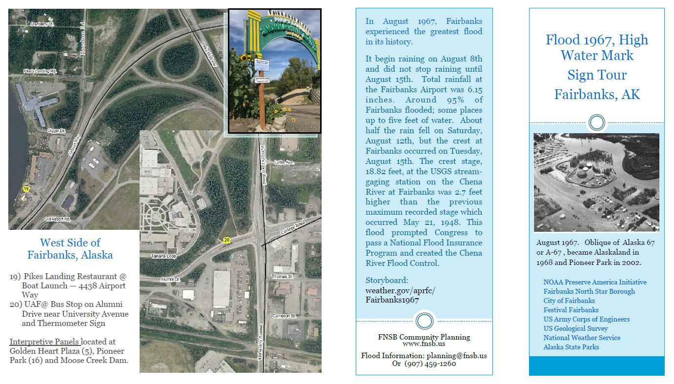 Fairbansk Flood Of Walking Tour Brochure - Us weather drive map