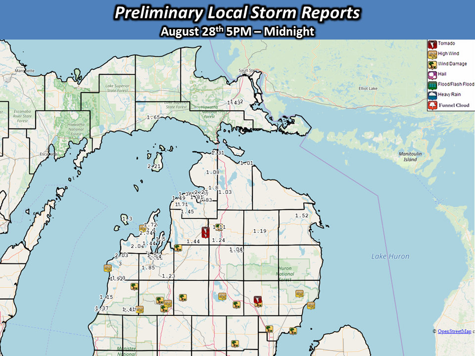 Four Confirmed Tornadoes - August 28th Severe Weather Summary** on map of beaver island michigan, map of sault ste. marie michigan, map of detroit michigan, map of thompsonville michigan, map of birmingham michigan, map of riverview michigan, map of lansing michigan, map of harbor springs michigan, map of jackson michigan, map of east jordan michigan, map of alden michigan, map of suttons bay michigan, map of ashley michigan, torch lake antrim county michigan, interactive map of michigan, map of drummond island michigan, map of battle creek michigan, map of plymouth michigan, map of saint ignace michigan, map of anson county north carolina,