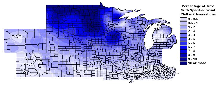 Percentage of time with wind chills -20 F or colder