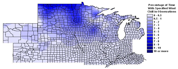Percentage of time with wind chills -30 F or colder