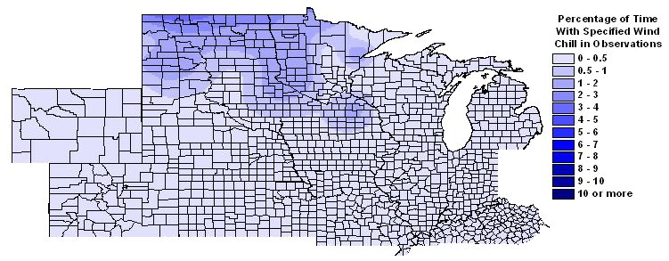 Percentage of time with wind chills -40 F or colder