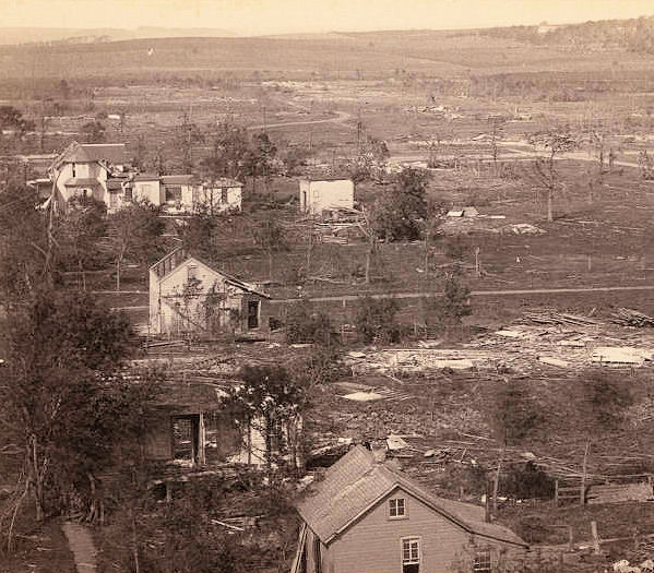 This is the view from Cole's Mill showing the residential section of Rochester. (Photo taken by Elmer & Tenney)