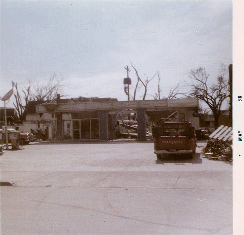 Looking south from Gilbert at gas station on corner of Hildreth. This was directly across the street south from Cedar Terrace.