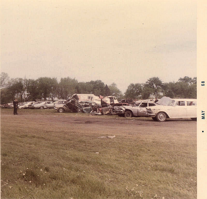Smashed cars were held here at Lions Field for the insurance companies.