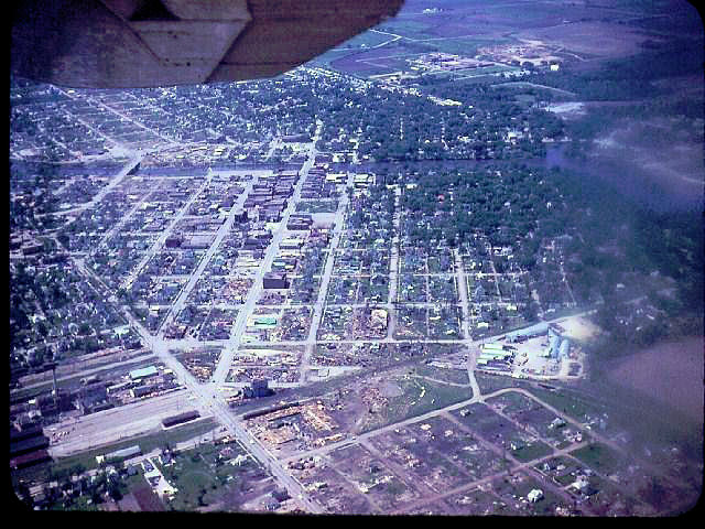 Aerial view of the Charles City, IA tornado's damage