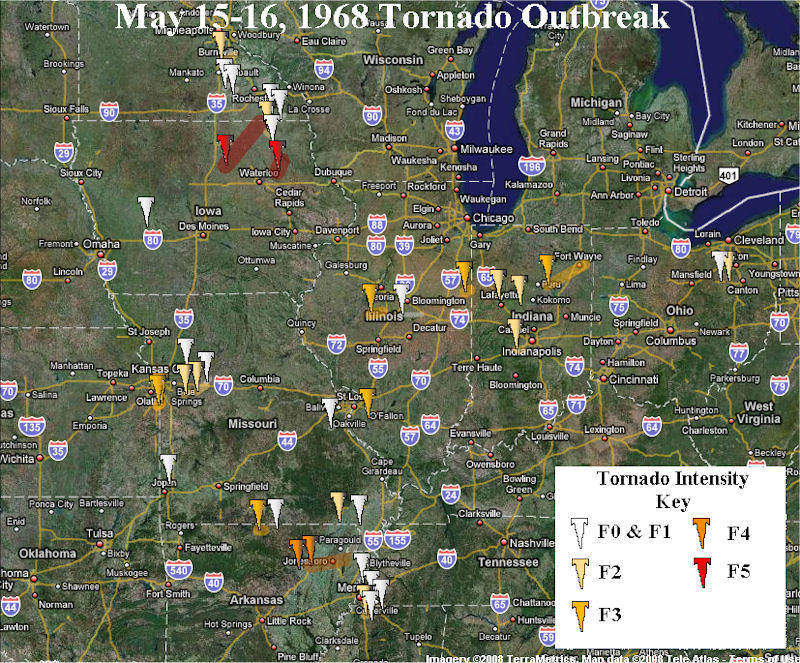 Map of the May 15-16, 1968 Tornado Outbreak