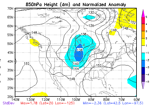 850 mb Height Anomalies at 7 AM CDT on May 15, 1968