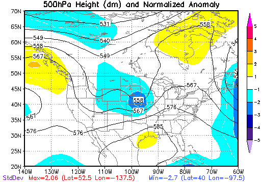 500 mb Height Anomalies at 7 PM CDT on May 15, 1968