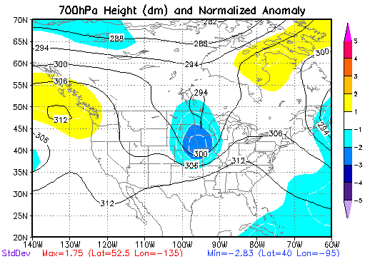 700 mb Height Anomalies at 7 PM CDT on May 15, 1968