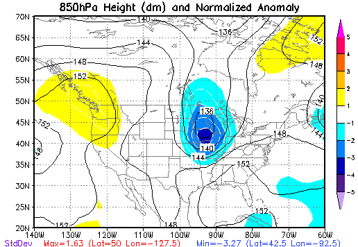 850 mb Height Anomalies at 7 PM CDT on May 15, 1968