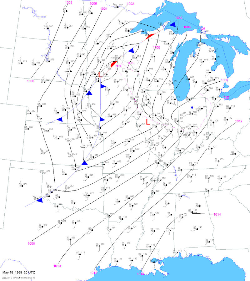 Surface Map at 3 PM CDT on May 15, 1968